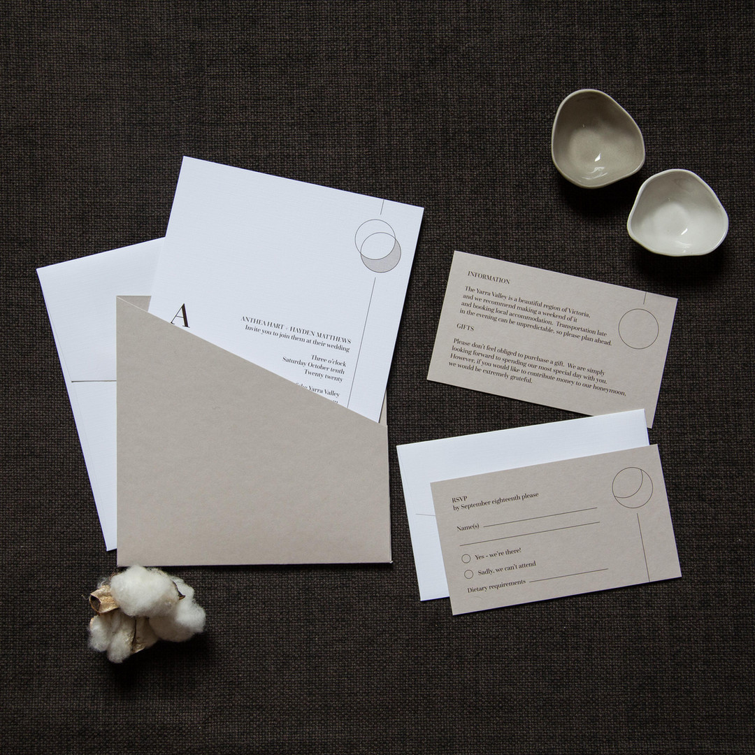 Moon and stone design wedding invitation