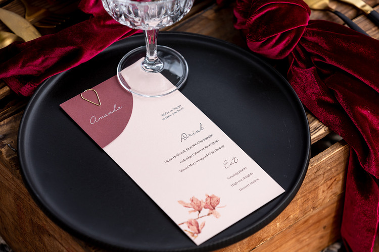 Wedding menu and place card with clasp