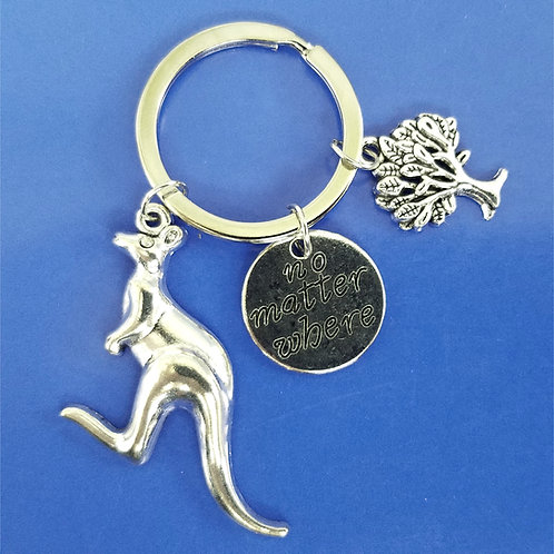 Silver Kangaroo Keychain