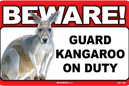 """Beware"" Kangaroo Sign"