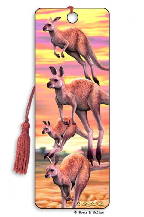3d Bookmark: Hopping Roos