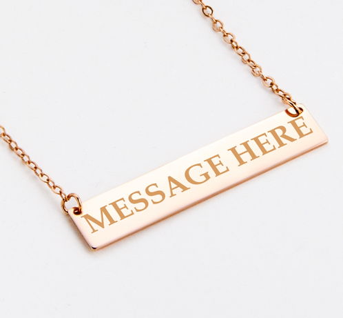 Personalised Sterling Silver 925 Bar Pendant Necklace Rose Gold Plated
