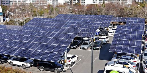 Solar panel installed in parking lot