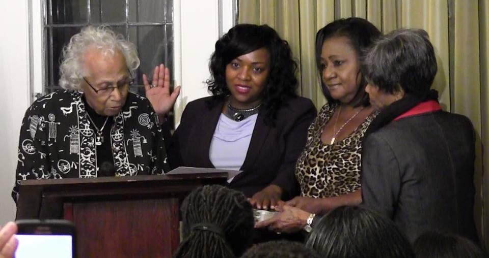 Constance Mitchell swears in LaShay Harris 1-16-16