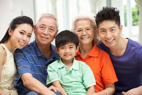 Portrait Of Multi-Generation Chinese Fam