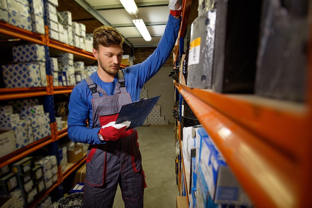 Worker using an asset management app like Custella