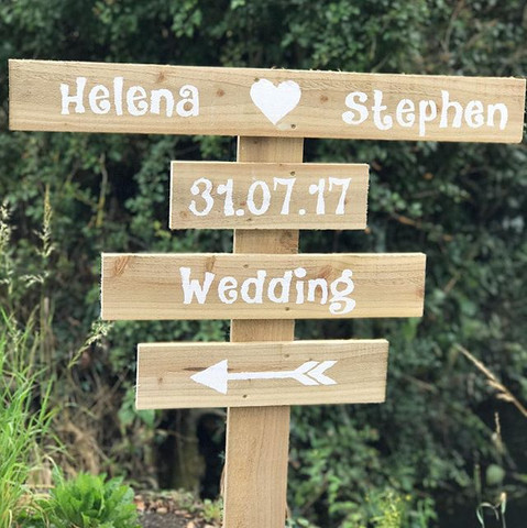 Hand painted direction sign