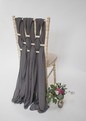 Grey Chiffon Chair Sash