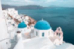 Blue Domes of Satorini, Greece