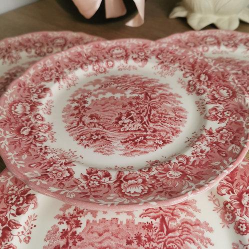 Lot de 4 assiettes plates The Courtship, Alfred Meakin