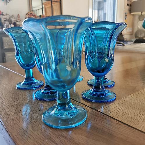 Lot de 5 coupes à glaces bleu La Rochère