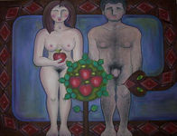 Adán y Eva antes de comer la manzana