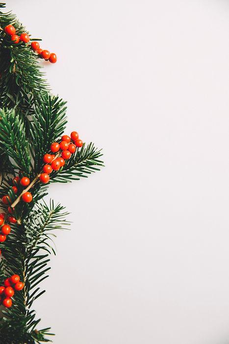 Weihnachtliche Dekoration Tannenzweig mit orangen Beeren