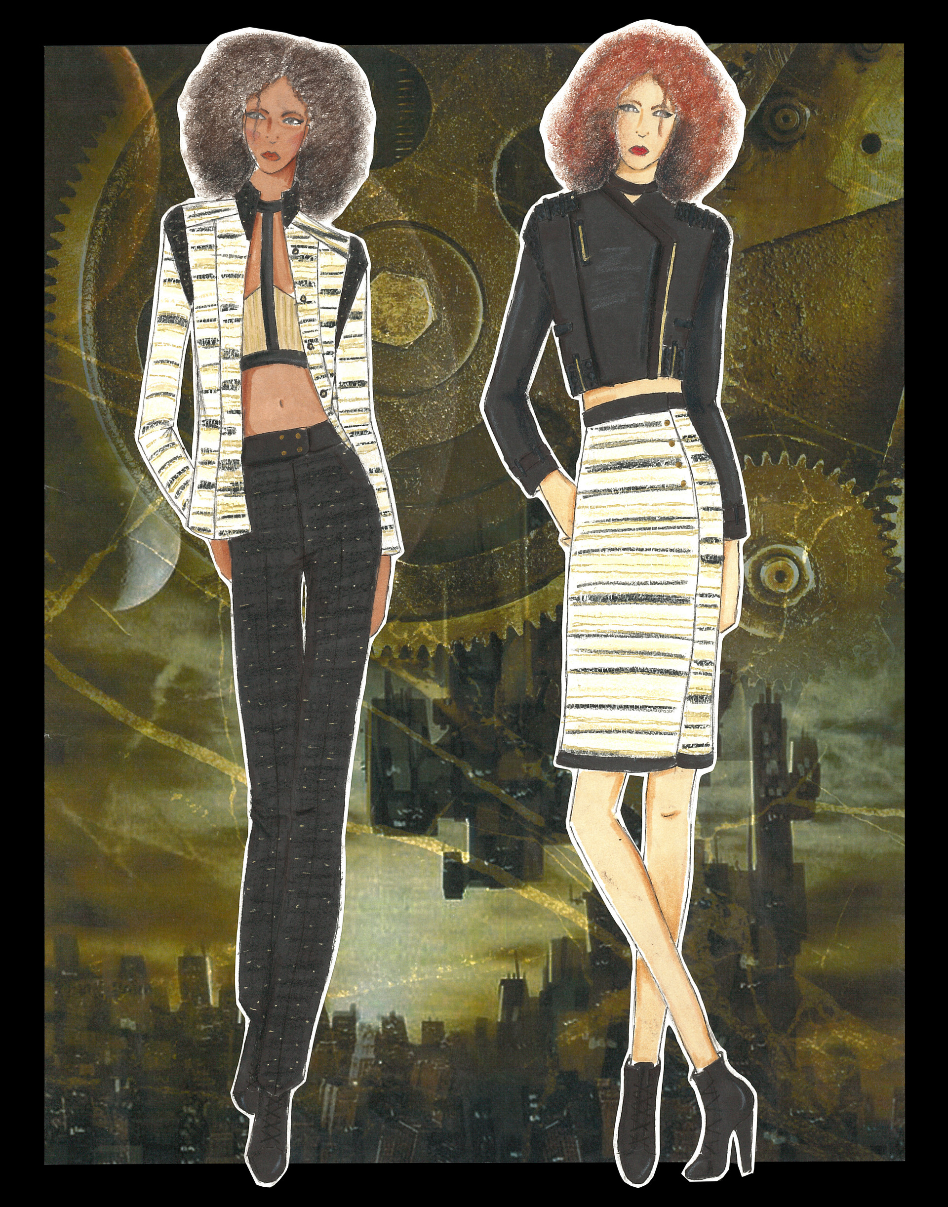 Figures 1 & 2 featuring suit mix and matched; and moto jacket