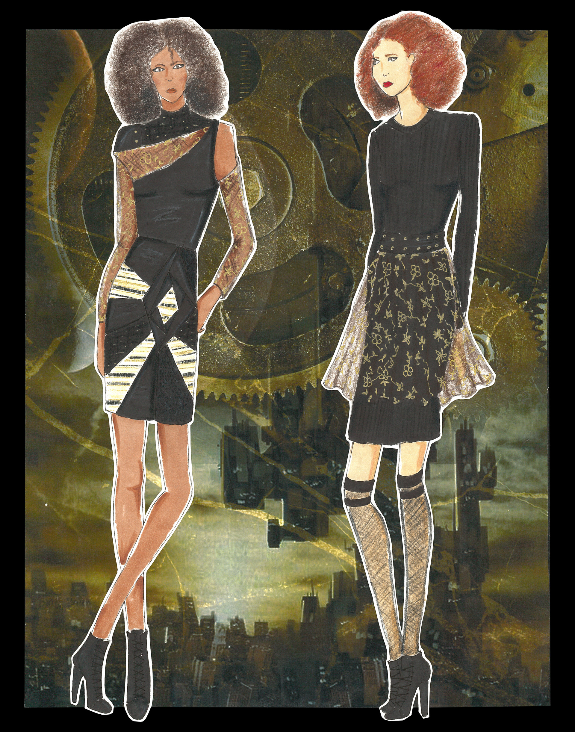 Figures 3 & 4 featuring color black dress and lace skirt