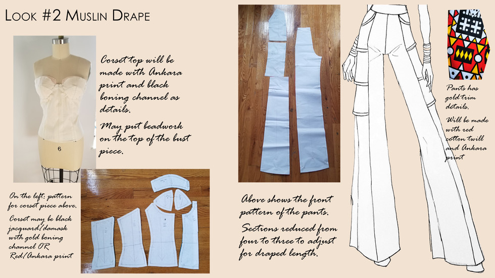 Look #2 Muslin Drape and Patterns