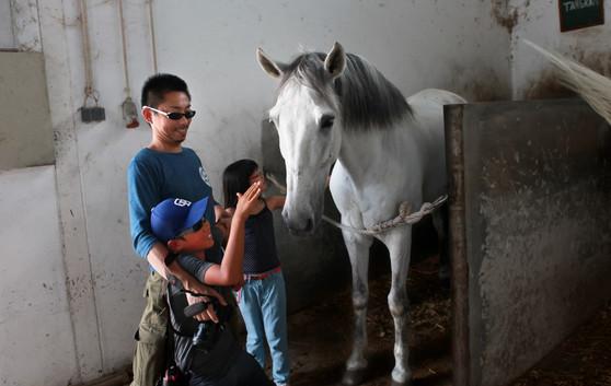 Visita alla scuderia della Escola Agraria di Castelo Branco. Koudai Tanji scherza con suo figlio Natsuki. Padre e figlio vivono separati dopo l'incidente della centrale nucleare di Fukushima.