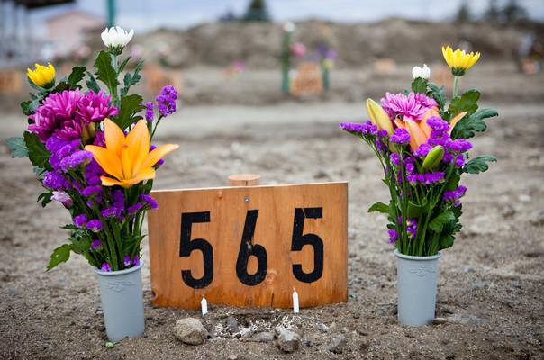 """565, la tomba di Toshizo Ootsuki, 80anni, è stato trovato davanti a casa sua dopo lo Tsunami. """"Era marinaio, non è fuggito"""" dice la sua figlia Michiko 49anni. """"Sono stata fortunata a trovarlo perché tanti altri non hanno ancora trovato i loro familiari e devono girare negli obitori per vedere quelle orribili fotografie delle vittime, è durissimo."""" Grazie al Ministero dell'Ambiente sono state realizzate alcune fosse per la sepoltura provvisoria senza cremazione, un caso eccezionale per il Giappone. """"Meno male, anche perché non avevo i soldi per il funerale e la cremazione e, anche se avessi potuto, i 5 forni crematori di Ishinomaki sono distrutti, avrei dovuto portarlo a lontano per cremarlo. Se poi avessi potuto cremarlo, la tomba di famiglia è stata distrutta dallo Tsunami, prima bisogna ripararla e ora non avrei un posto dove mettere l'urna cineraria, non ho più la casa, sono rifugiata""""."""