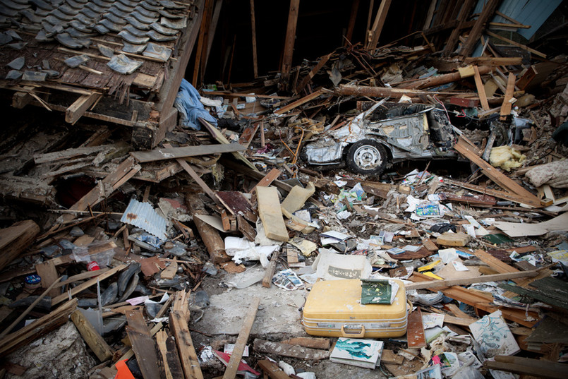 A destroyed house in Ishinomaki, Miyagi prefecture. Some of the missing could still be under the debris.