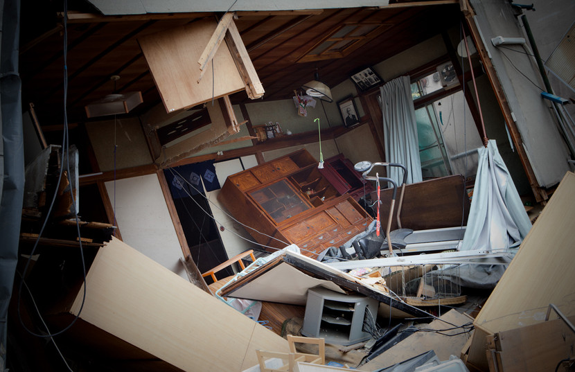 A destroyed house in the center of Kamaishi, in the Iwate prefecture.