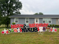Red Happy Birthday Yard Sign Rental