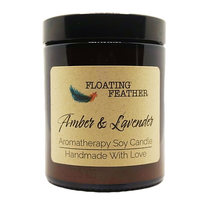 Amber & Lavender - Scented Soy Wax Candle