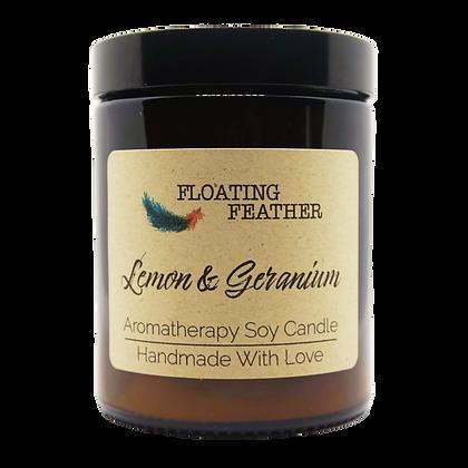 Lemon & Geranium - Scented Soy Wax Candle