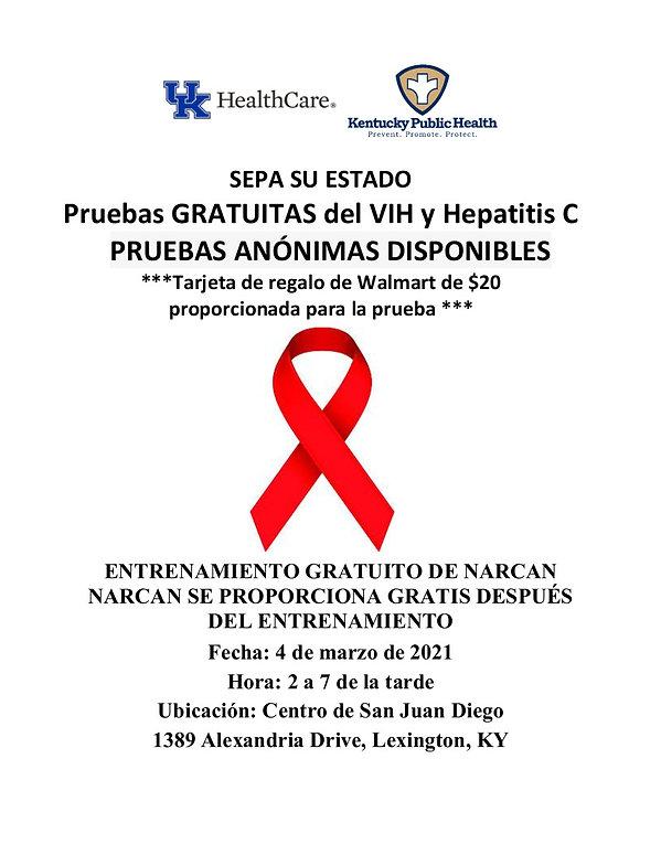 Spanish HIV, Hepatitis, Narcan flyer Mar