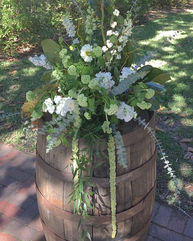 Garden style whiskey barrel #Luella #WhiskeyBarrel #Wedding
