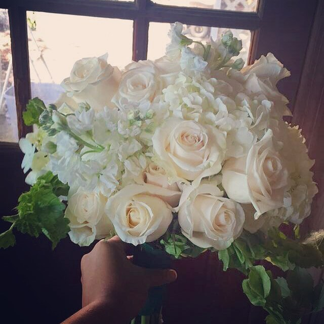 All white bridal bouquet by Mindy of Luella