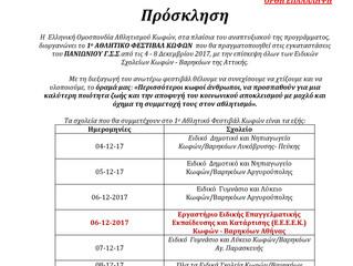 1ο Αθλητικό Φεστιβάλ Κωφών - ΕΟΑΚ        4-8.12.17