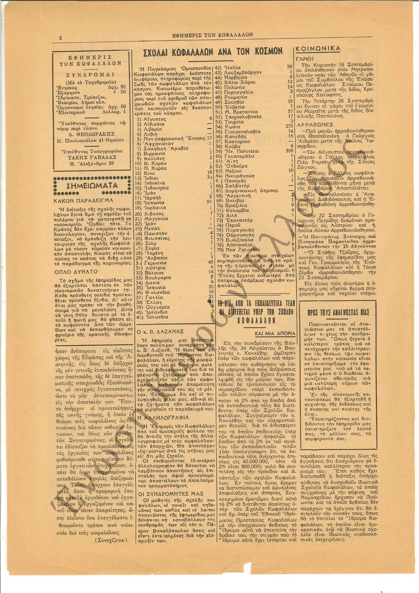 Εφημερίς των Κωφαλάλων 1956-Νοέμβριος 2