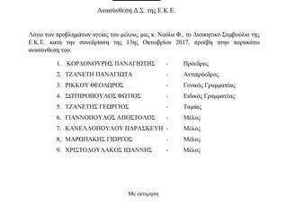 Ανασύνθεση Δ.Σ. της ΕΚΕ