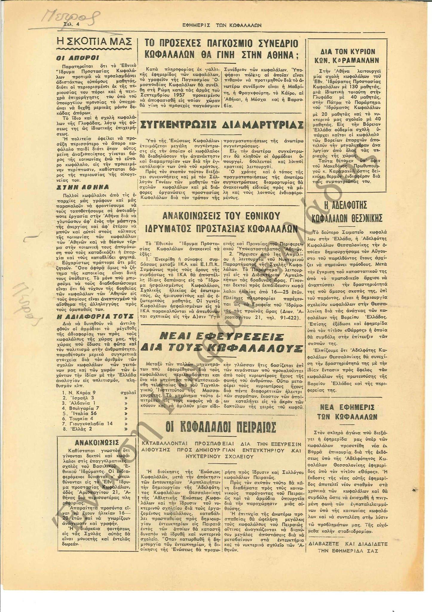Εφημερίς των Κωφαλάλων 1957-Ιούνιος 4