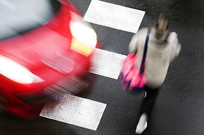 crosswalk of street city with people in