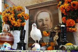 Live dove on altar for dead, 2003