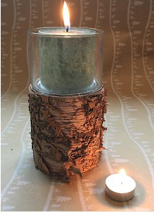 Rustic Woodland Hurricane Birch Bark Candle Holder