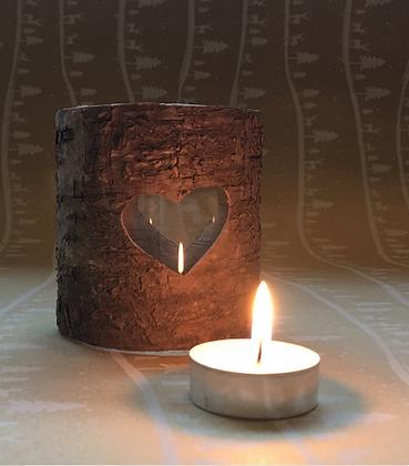 Woodland Heart Bark Candle Teelight Holder