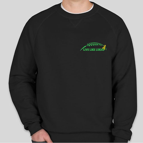 Black Long Sleeve Crew Green Logo