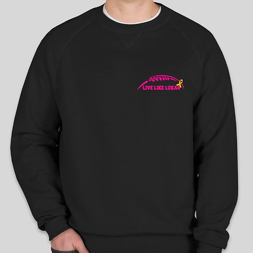 Black Long Sleeve Crew Pink Logo