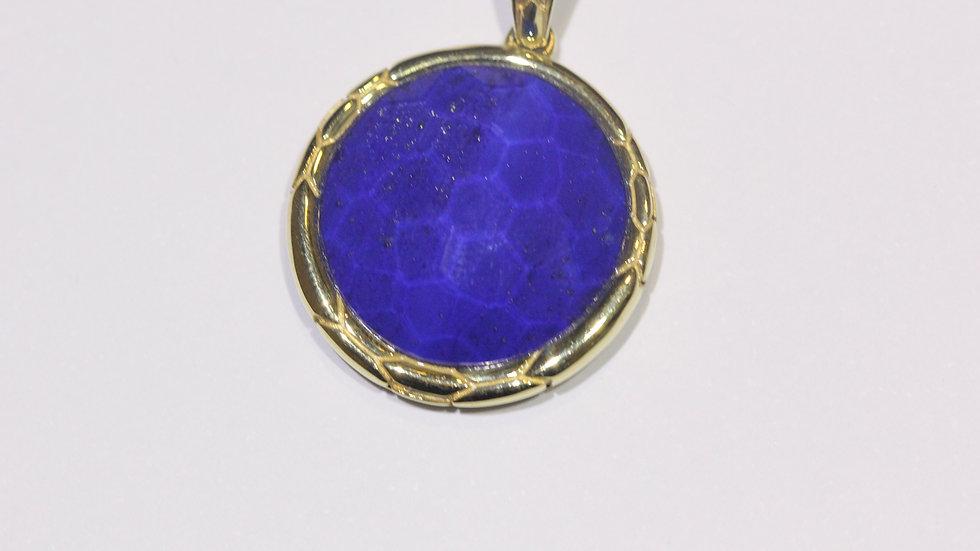 Faceted Lapis Gold Pendant