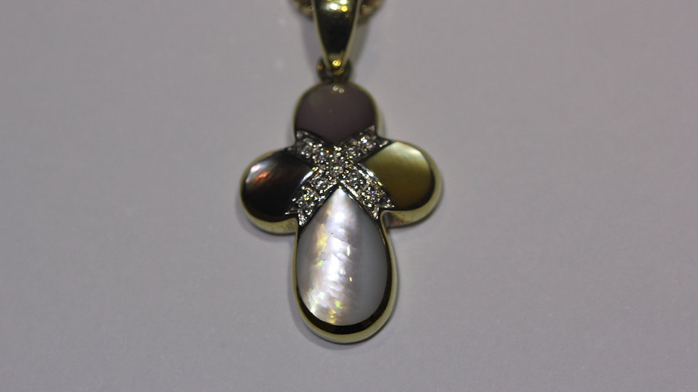 Spiny Oyster & Diamond Inlaid Cross Pendant