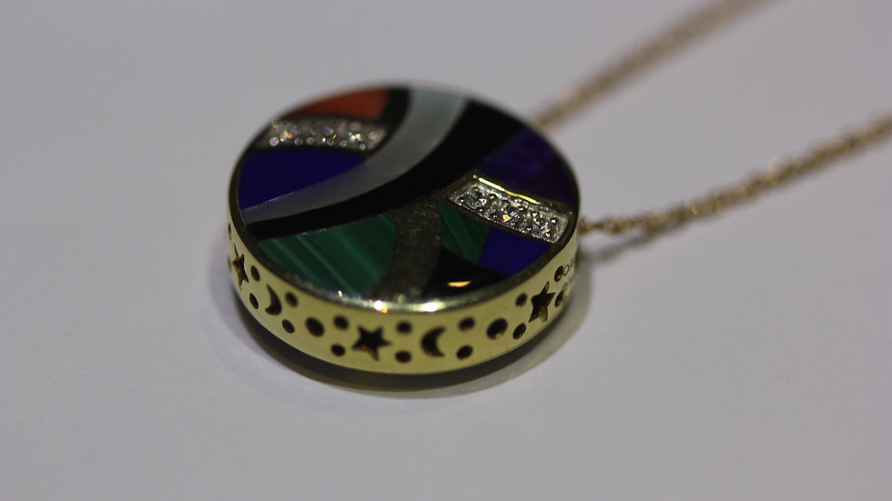 Diamond,Multicolor,Onyx, and Mother of Pearl InlaidReversible Pendant
