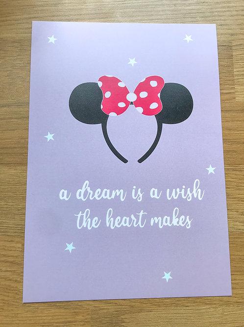 a dream is a wish A5 print