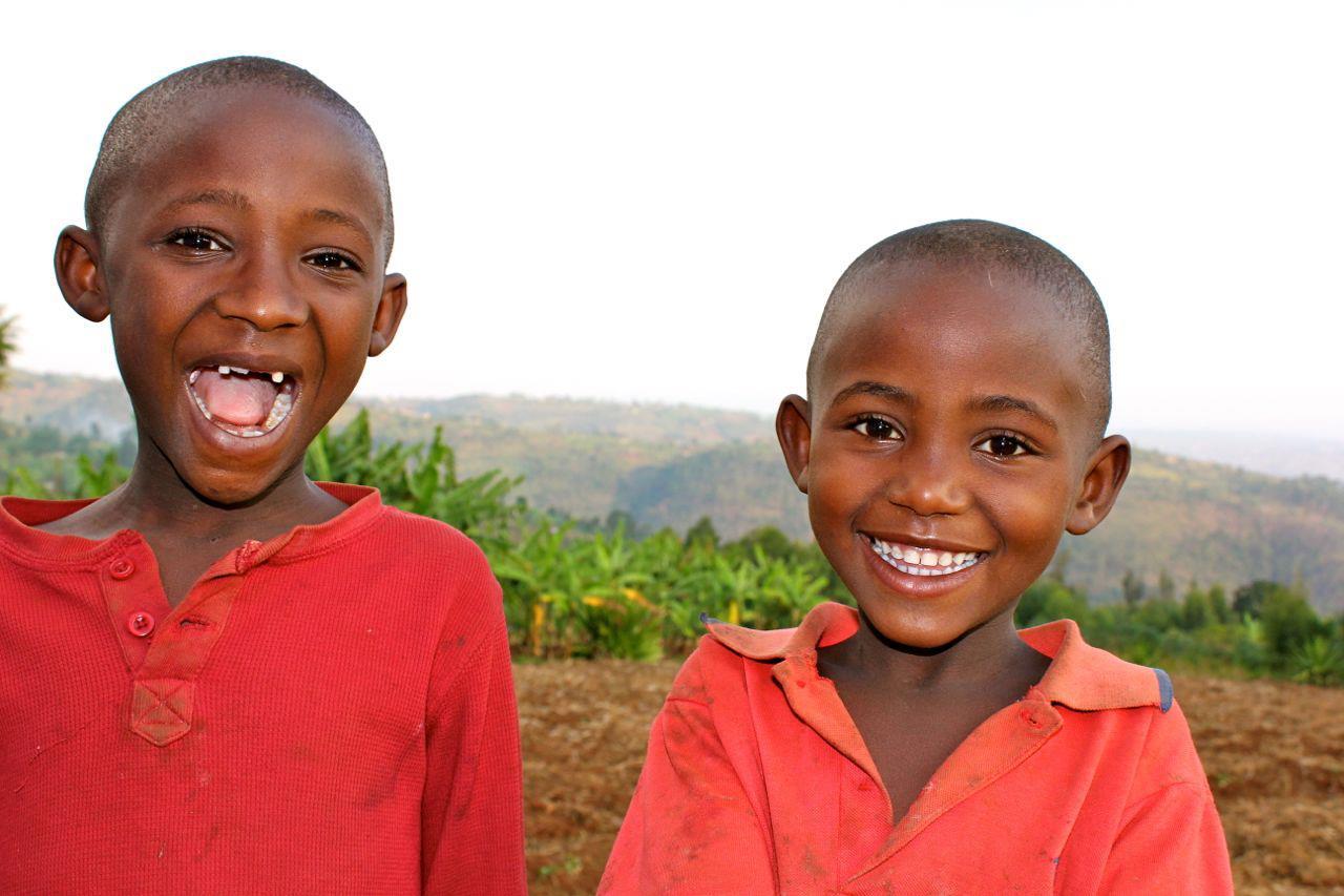 Two boys smiling in Rwanda