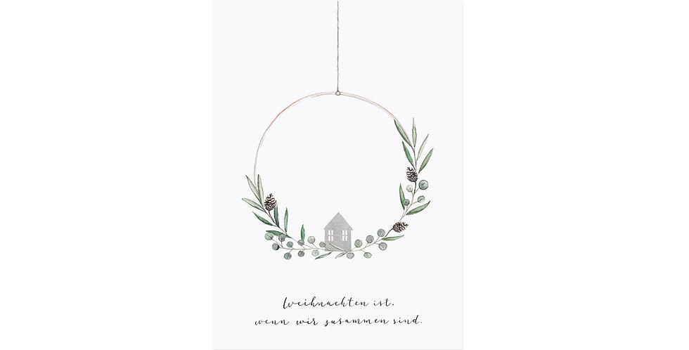 Postkarte Weihnachtskranz