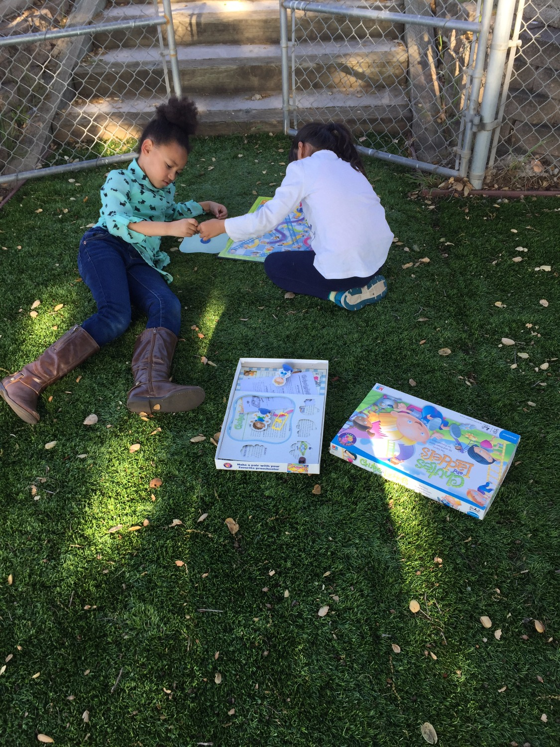 Making friends over board games outdoors