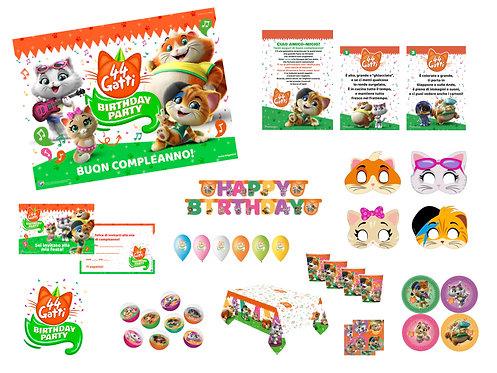 Kit Birthday Party 44 Gatti - Da 8 a 16 persone