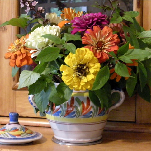 Unmarked Quimper Sugar Bowl with Colorful Zinnias and Fresh Basil