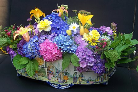 HB Quimper Jardiniere with a Mix of Hydrangeas and Other Spring Blooms